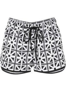 Пляжные шорты с тропическим принтом (черный с рисунком) Bonprix