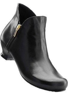 Удобные кожаные полусапожки (черный) Bonprix