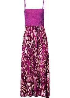 Платье в стиле бандо (темно-оливковый с рисунком) Bonprix