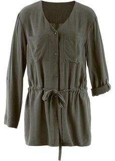 Блузка в стиле карго с длинным рукавом (цвет белой шерсти) Bonprix
