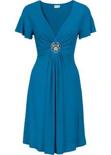 Трикотажное платье, украшенное брошью (серый меланж) Bonprix