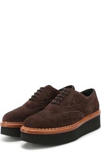 Замшевые ботинки с перфорацией на платформе Tod's