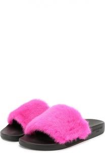 Шлепанцы с отделкой из меха норки Givenchy