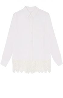 Шелковая блуза с кружевной отделкой и накладным карманом Equipment