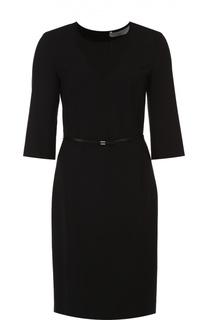 Приталенное платье с укороченным рукавом и поясом HUGO