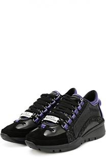 Комбинированные кроссовки с глиттером Dsquared2