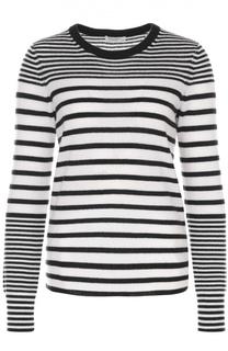Кашемировый пуловер в контрастную полоску с круглым вырезом Equipment