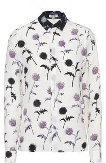 Шелковая блуза прямого кроя с цветочным принтом Kenzo