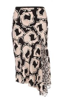 Шелковая юбка асимметричного кроя с контрастным принтом Diane Von Furstenberg