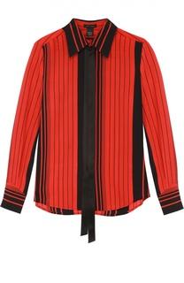 Шелковая блуза в контрастную полоску с воротником аскот Marc Jacobs