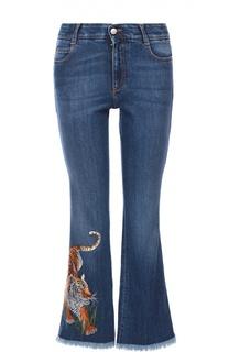 Укороченные расклешенные джинсы с вышивкой в виде тигра Stella McCartney