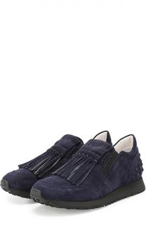 Замшевые кроссовки Sportivo с бахромой Tod's