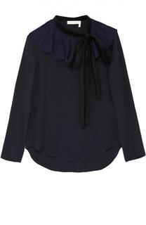 Шелковая блуза с контрастной оборкой и воротником аскот Chloé