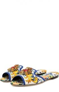 Текстильные сабо Bianca с кристаллами Dolce & Gabbana