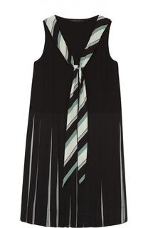 Шелковое платье прямого кроя с юбкой в складку Marc Jacobs
