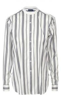 Шелковая блуза прямого кроя с контрастную полоску Polo Ralph Lauren