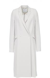 Двубортное пальто прямого кроя с карманами HUGO