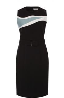 Платье без рукавов с контрастной отделкой и поясом HUGO
