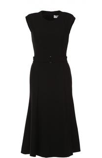 Приталенное платье без рукавов с поясом HUGO