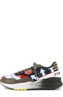 Кожаные кроссовки с текстильной отделкой Frankie Morello