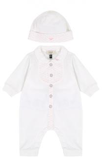 Комплект из хлопковой пижамы и шапки Giorgio Armani
