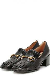 Кожаные туфли Polly с бахромой и пряжкой-трензелем Gucci