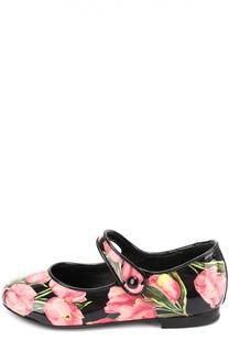 Лаковые туфли с цветочным принтом Dolce & Gabbana