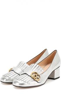Туфли Marmont из металлизированной кожи Gucci