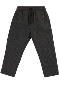 Шерстяные брюки прямого кроя с эластичным поясом Dolce & Gabbana