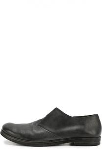 Кожаные туфли с эффектом состаривания без шнурков Marsell
