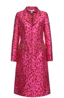 Приталенное пальто с накладными карманами и контрастным принтом Oscar de la Renta