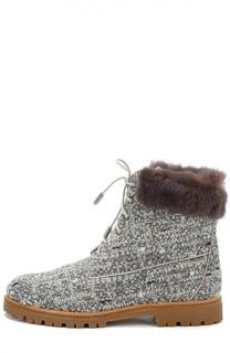 Текстильные ботинки The Heilbrunner с меховой отделкой Aquazzura