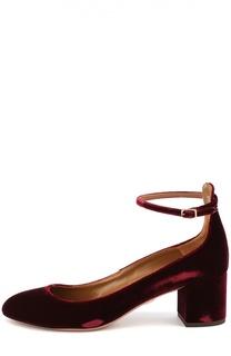 Бархатные туфли Alix с ремешком на щиколотке Aquazzura