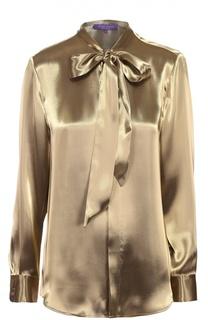 Блуза с металлизированной отделкой и воротником аскот Ralph Lauren