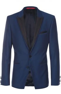 Шерстяной приталенный пиджак с контрастными лацканами HUGO
