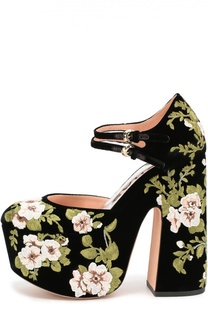 Туфли из текстиля с цветочной вышивкой Rochas