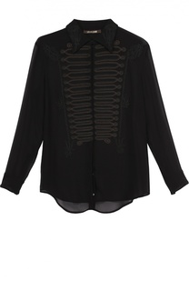 Шелковая блуза прямого кроя с декоративной отделкой Roberto Cavalli