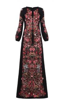 Приталенное платье в пол с ярким принтом и длинным рукавом Roberto Cavalli