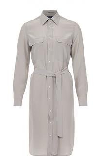 Шелковое платье-рубашка с накладными карманами и поясом Polo Ralph Lauren