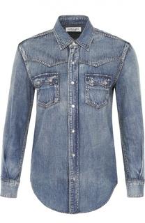 Приталенная джинсовая блуза с накладными карманами Saint Laurent