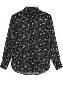 Шелковая полупрозрачная блуза с ярким принтом Saint Laurent