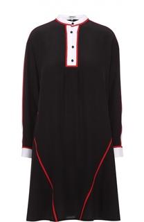 Шелковое мини-платье свободного кроя с контрастной отделкой Kenzo