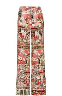 Шелковые брюки прямого кроя с ярким принтом Roberto Cavalli