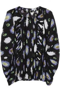 Плиссированная блуза асимметричного кроя с цветочным принтом Kenzo