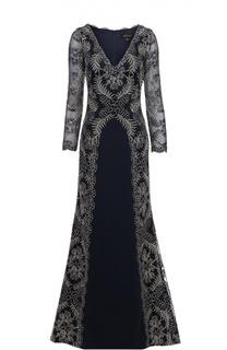 Кружевное приталенное платье в пол с V-образным вырезом Tadashi Shoji