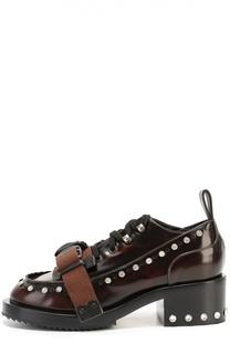 Кожаные ботинки с кристаллами и декоративным ремешком No. 21