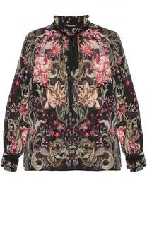 Шелковая полупрозрачная блуза с ярким принтом Roberto Cavalli
