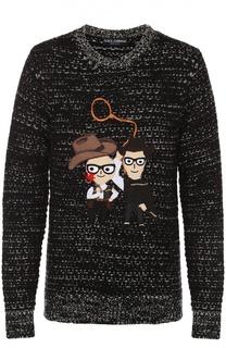 Шерстяной свитер с аппликацией DG Family Dolce & Gabbana
