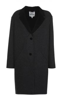 Пальто прямого кроя с контрастными лацканами Kenzo