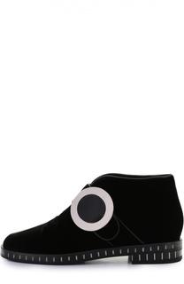Бархатные ботинки с круглой пряжкой Giorgio Armani